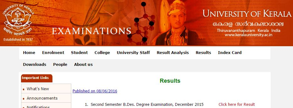 Kerala University Result 2019 -UG/PG 1st 2nd 3rd 4th Sem Result Date