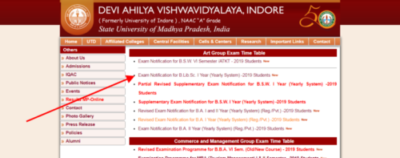 DAVV 1/2/3 Year Time Table 2020