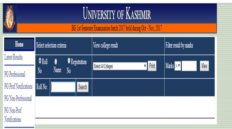Kashmir University Result