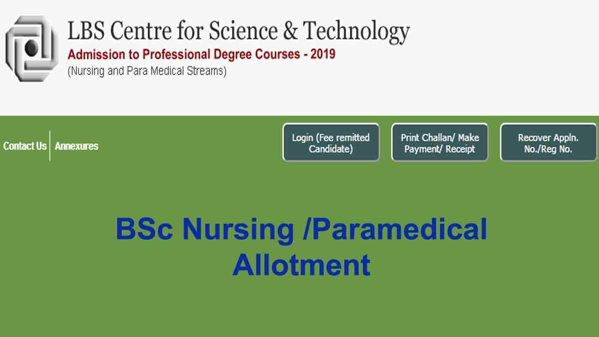 Kerala LBS BSc Nursing/ Paramedical Fourth Allotment 2021 ...